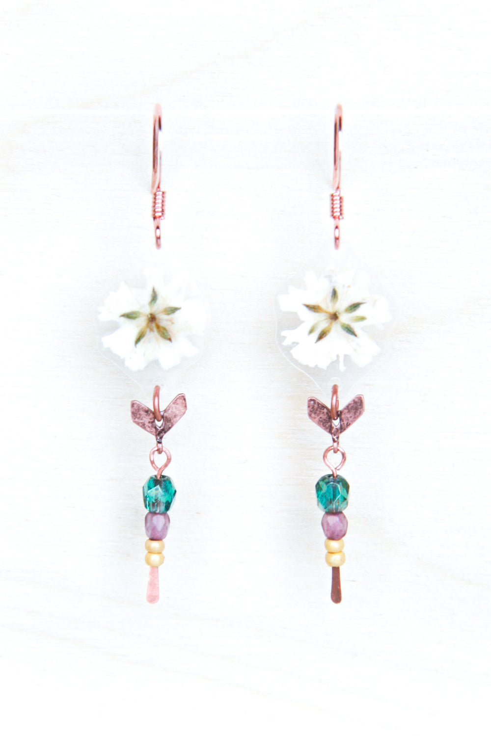 White Baby's Breath Chevron Beaded Earrings