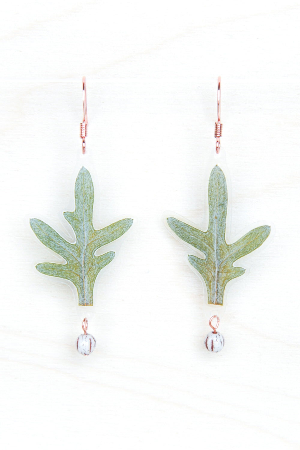 Green Dusty Miller Leaf Beaded Earrings