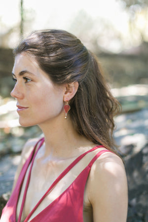 Red Geranium Beaded Drop Earrings