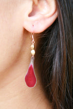 Red Geranium Pressed Petal Earrings with Flax Glass Beads