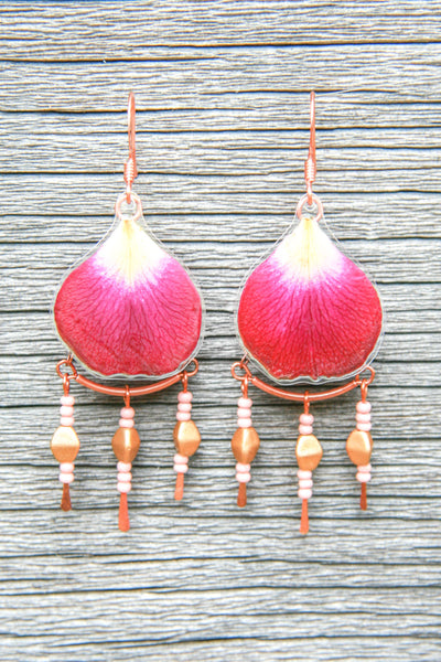 Fuchsia Rose Pressed Petal Earrings with Glass & Copper Beads