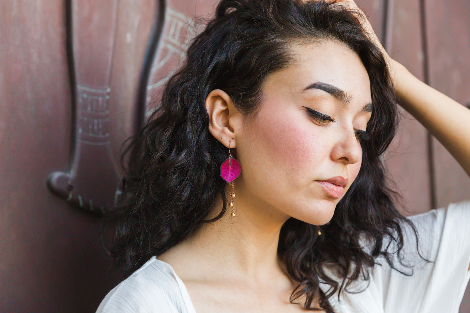 Fuchsia Bougainvillea Petal Earrings with Metallic Teardrops