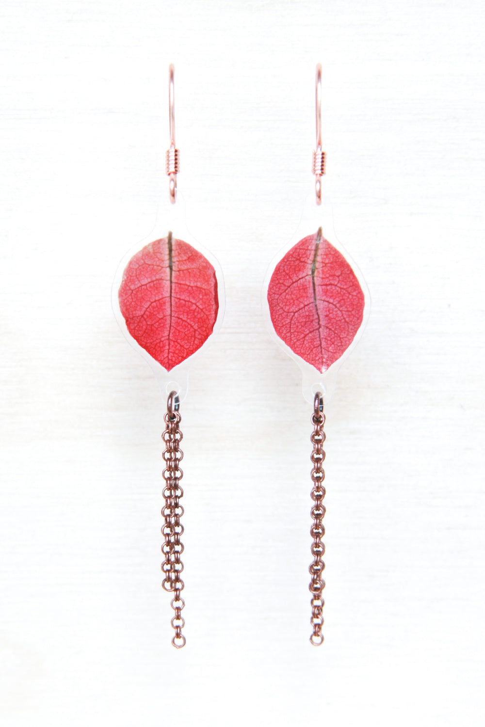 Red Bougainvillea Pressed Petal Dangle Earrings