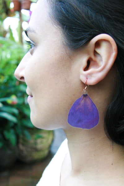 Purple Princess Flower Pressed Flower Earrings