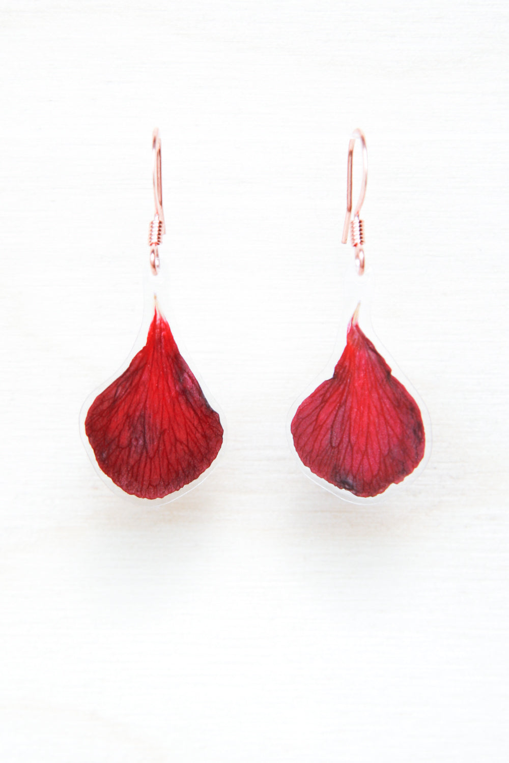 Red Geranium Pressed Flower Drop Earrings