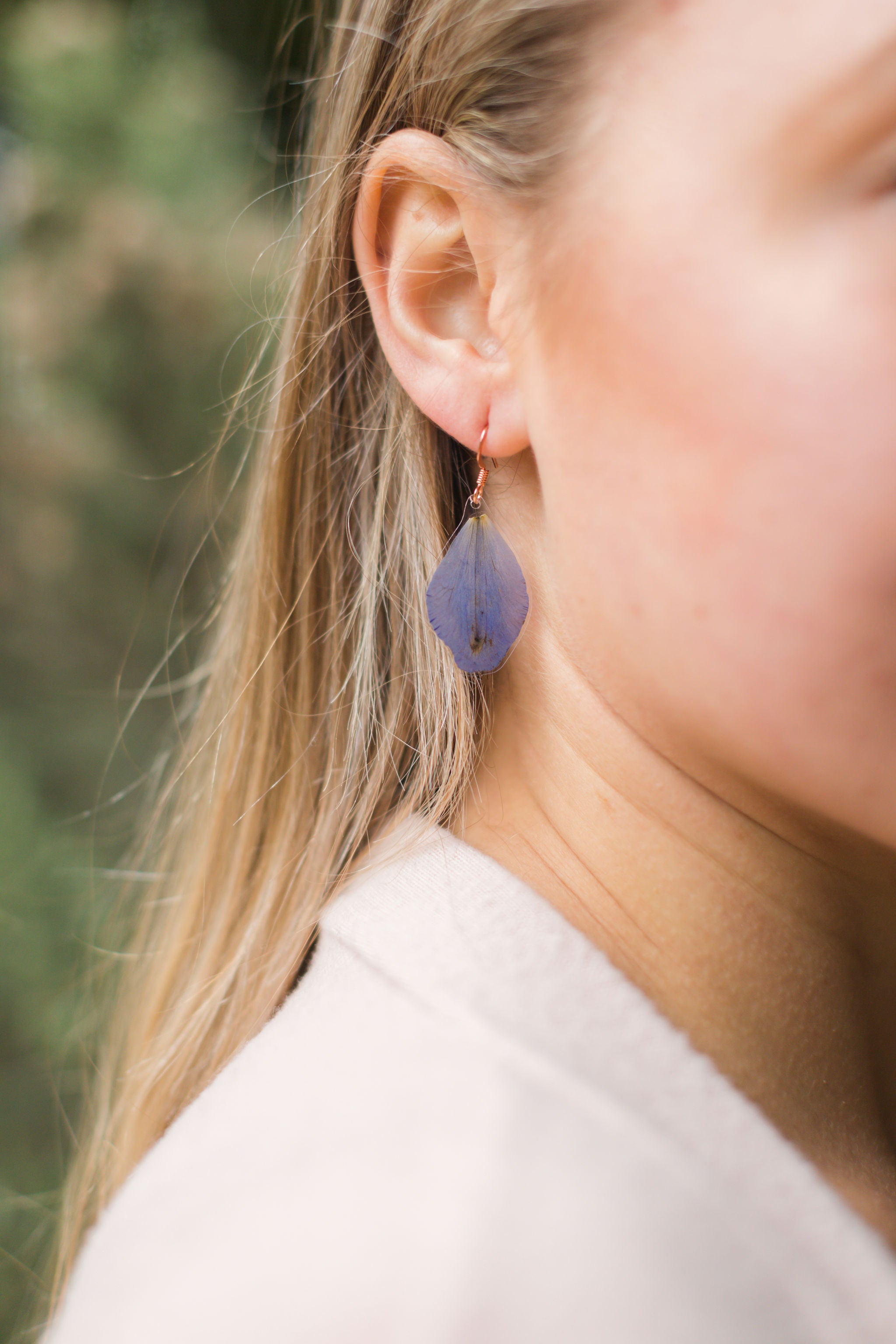 Blue Delphinium Petal Drop Earrings