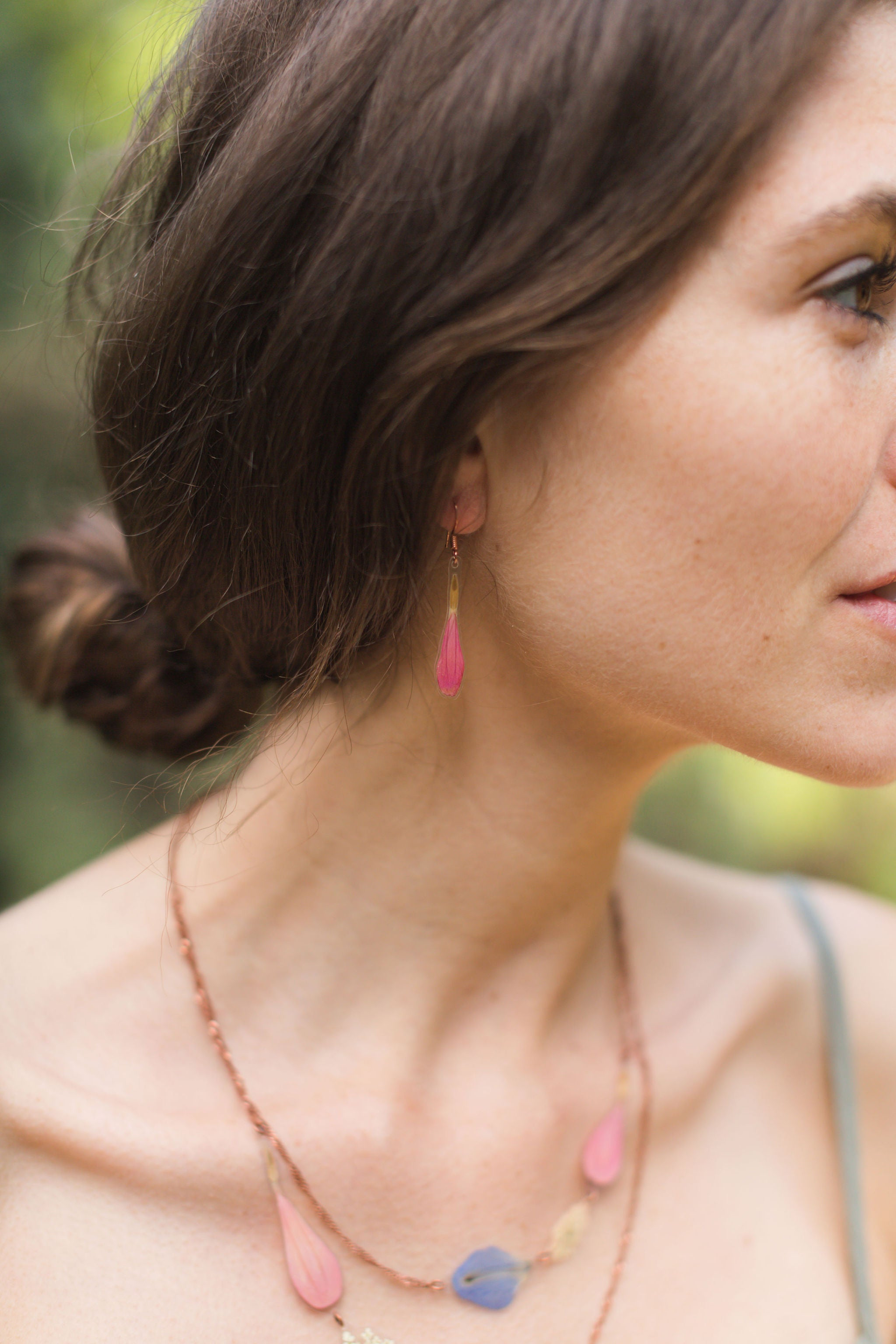 Coral Pink Zinnia Petal Drop Earrings