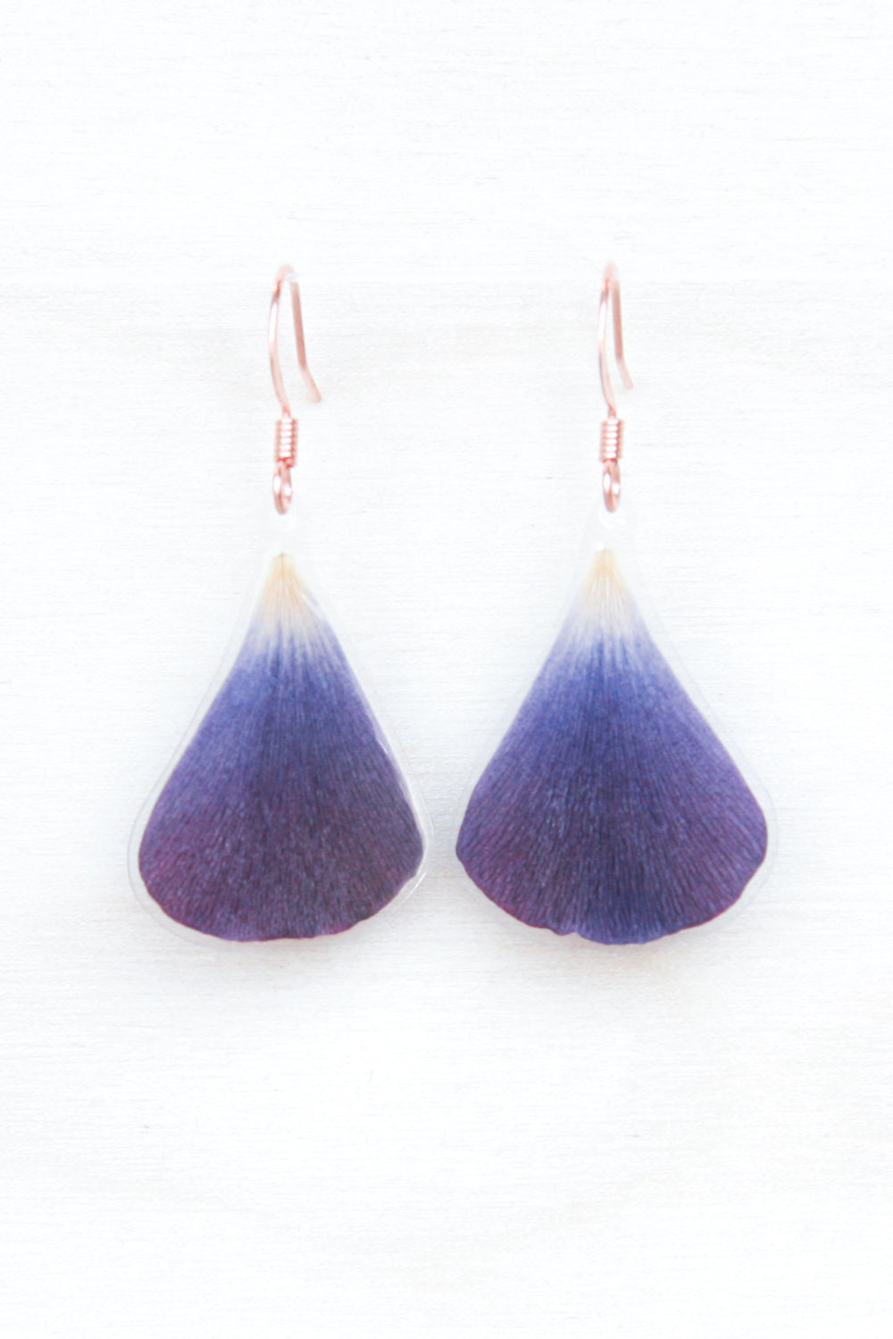 Purple Ranunculus Petal Drop Earrings