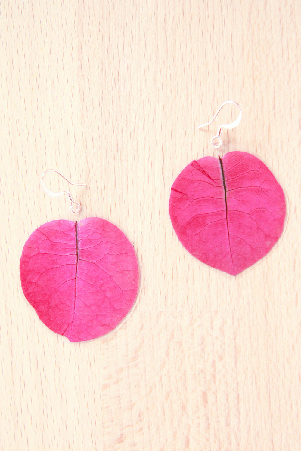 Fuchsia Bougainvillea Pressed Petal Earrings