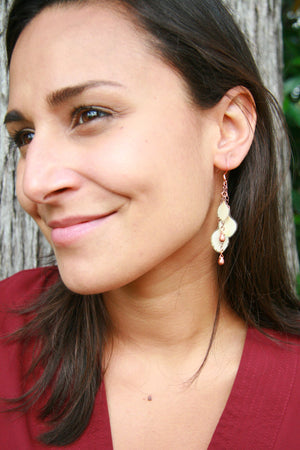 White Hydrangea Pressed Flower Earrings with Copper Teardrop Glass Beads