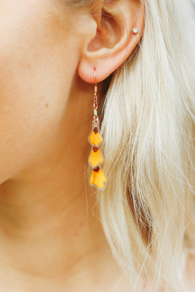 Yellow Coreopsis Layered Pressed Petal Earrings with Turquoise Glass Tubes