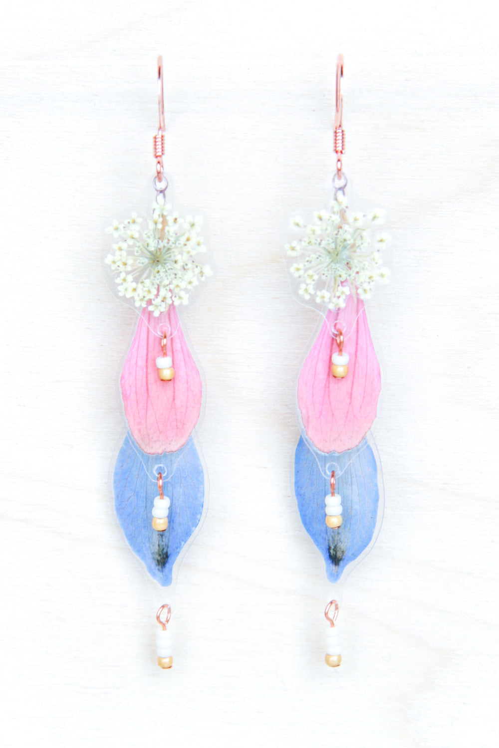 Pink Zinnia + Blue Delphinium + White Queen Anne's Lace Flower Bouquet Earrings