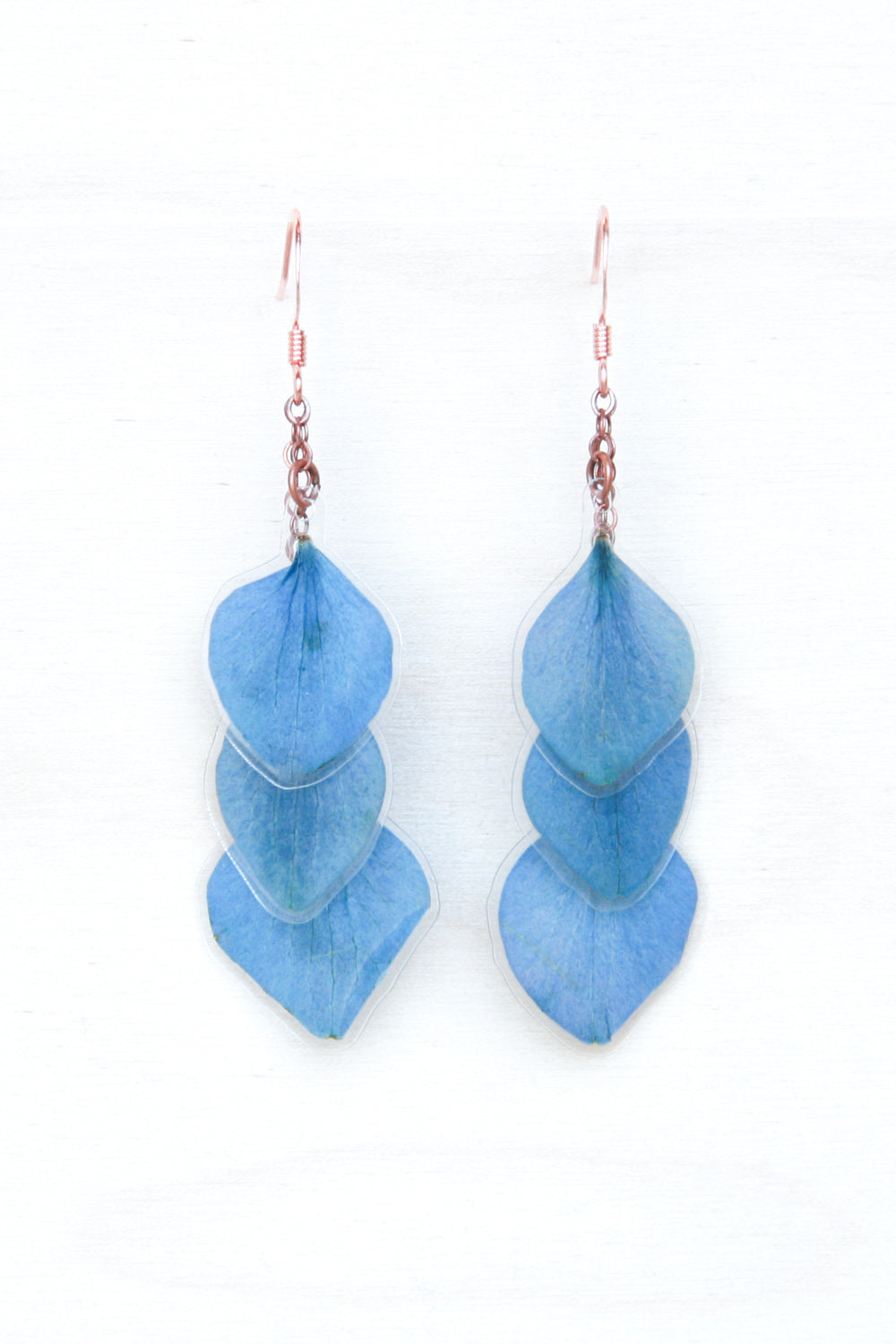 Blue Hydrangea Pressed Petal Layered Earrings