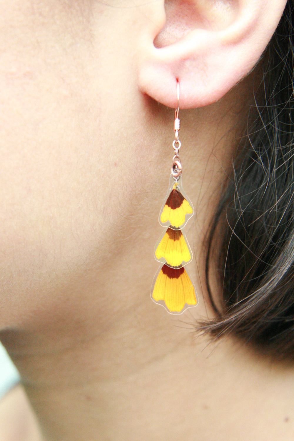 Yellow Coreopsis Pressed Flower Earrings