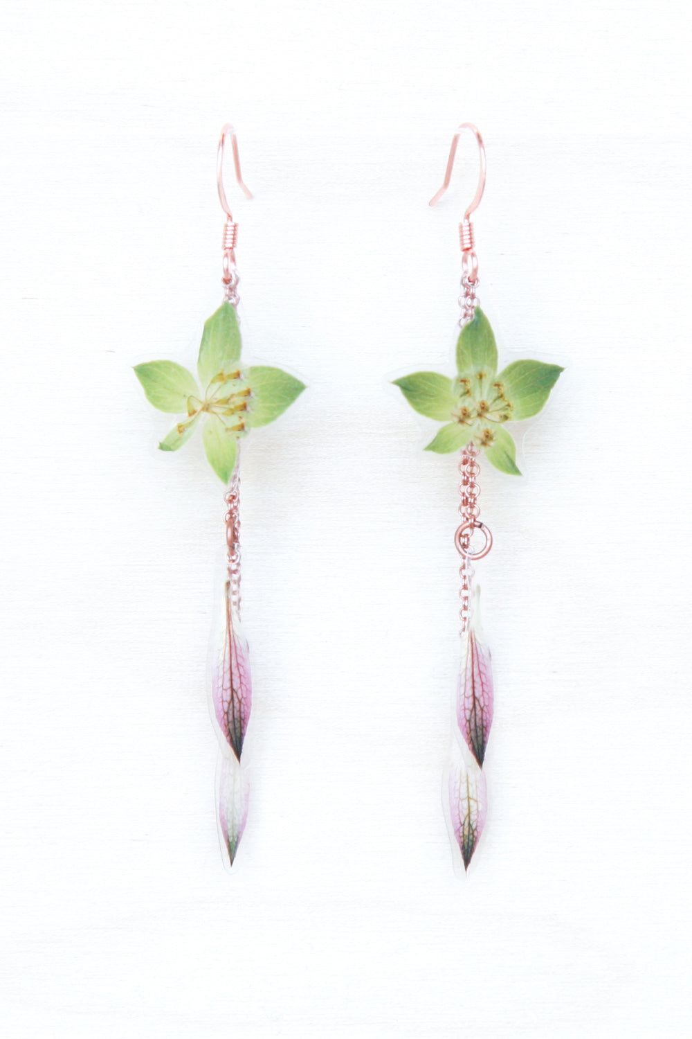 Purple Astrantia & Green Bupleurum Layered Earrings