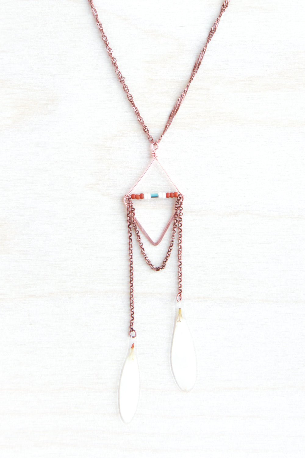 White Shasta Daisy Pressed Petal Necklace with Hammered Copper Diamond Hoop & Terracotta, Cream & Turquoise Glass Beads