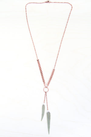 Green Sage Pressed Leaf Necklace with Copper Chevron
