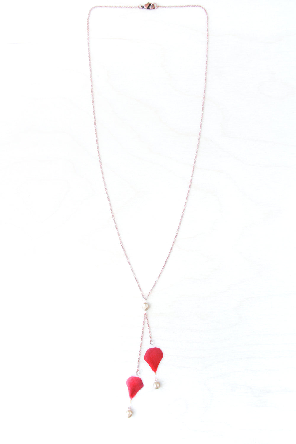 Red Geranium Beaded Lariat Necklace