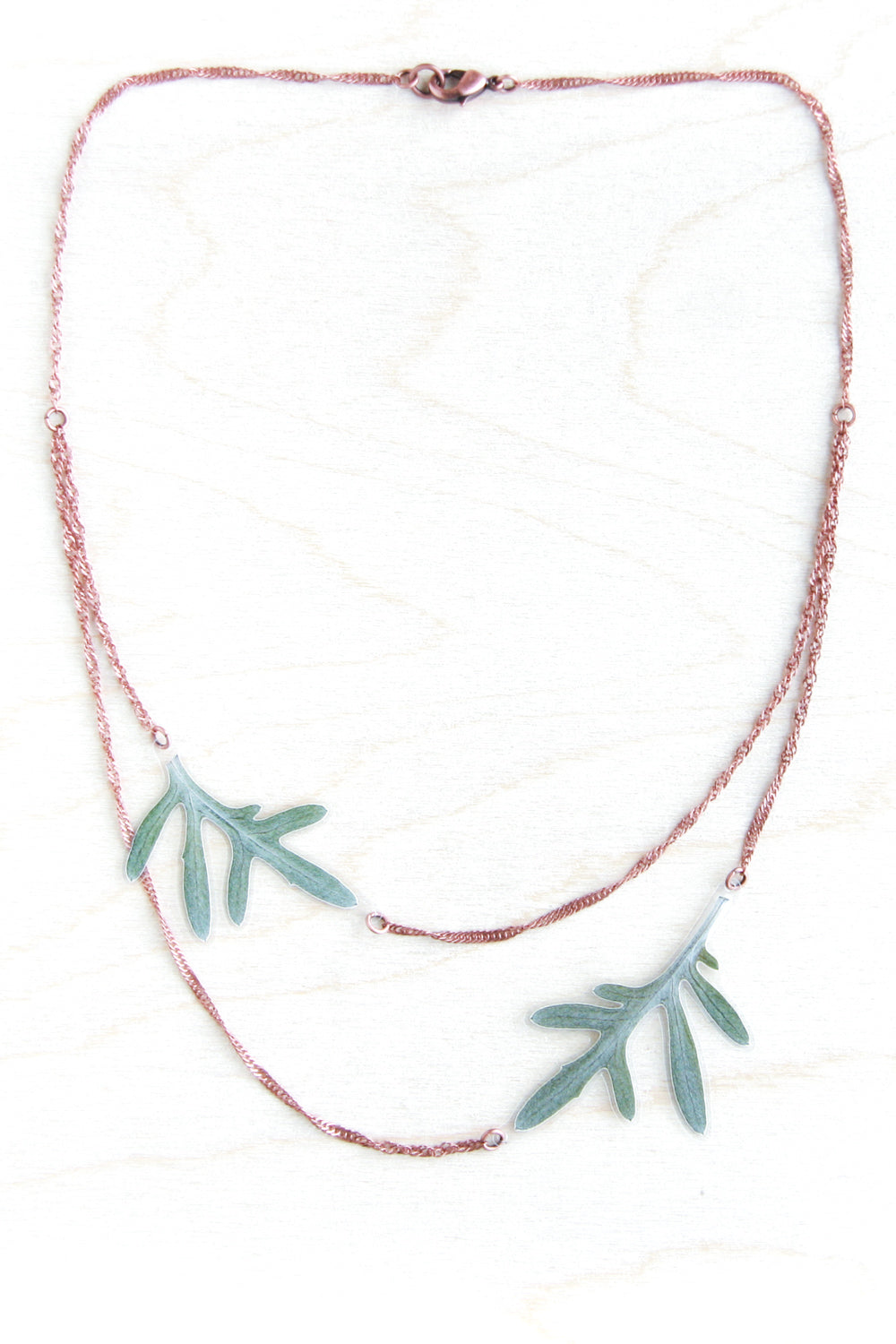 Green Dusty Miller Pressed Leaf Layered Necklace
