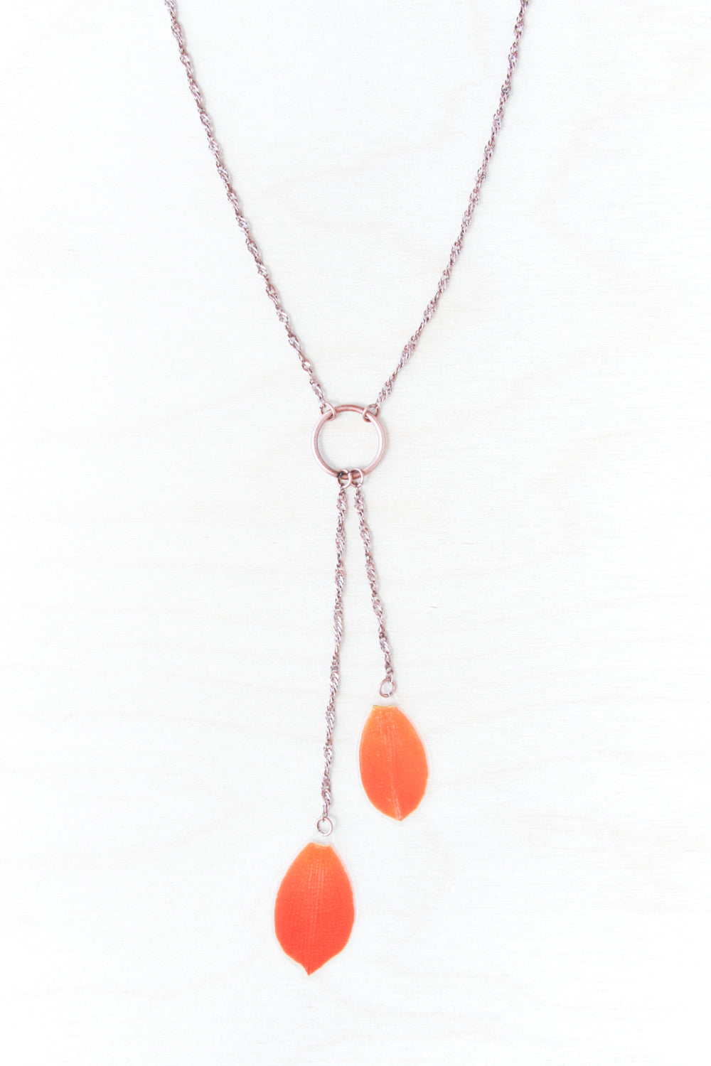 Orange Sun Star Pressed Petal Lariat Necklace