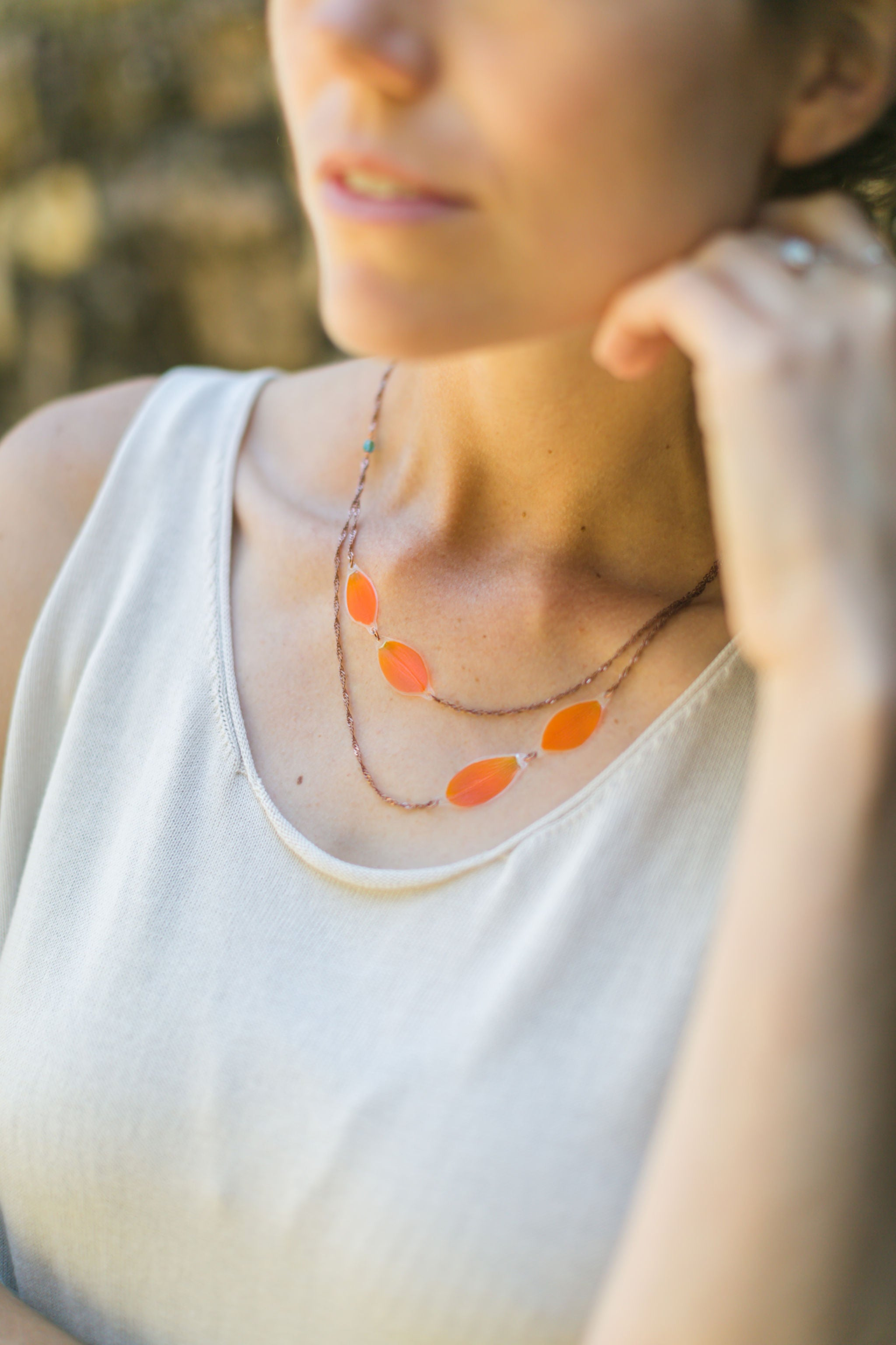 Orange Sun Star Layered Beaded Necklace