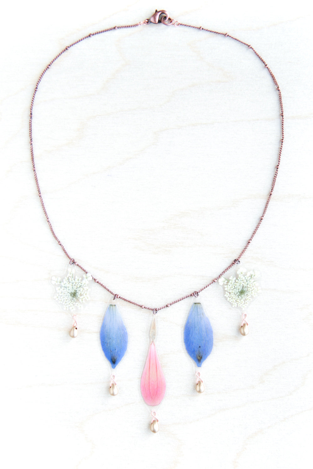 Pink Zinnia + Blue Delphinium + White Queen Anne's Lace Flower Beaded Bouquet Necklace