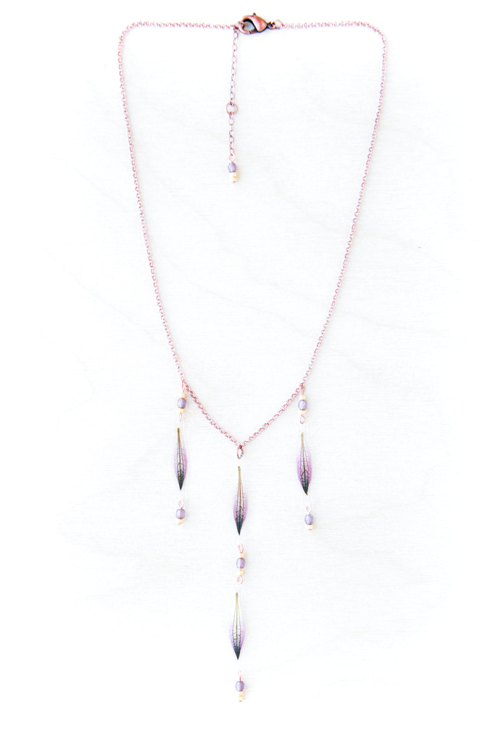 Purple Astrantia Petal Beaded Adjustable Choker Necklace