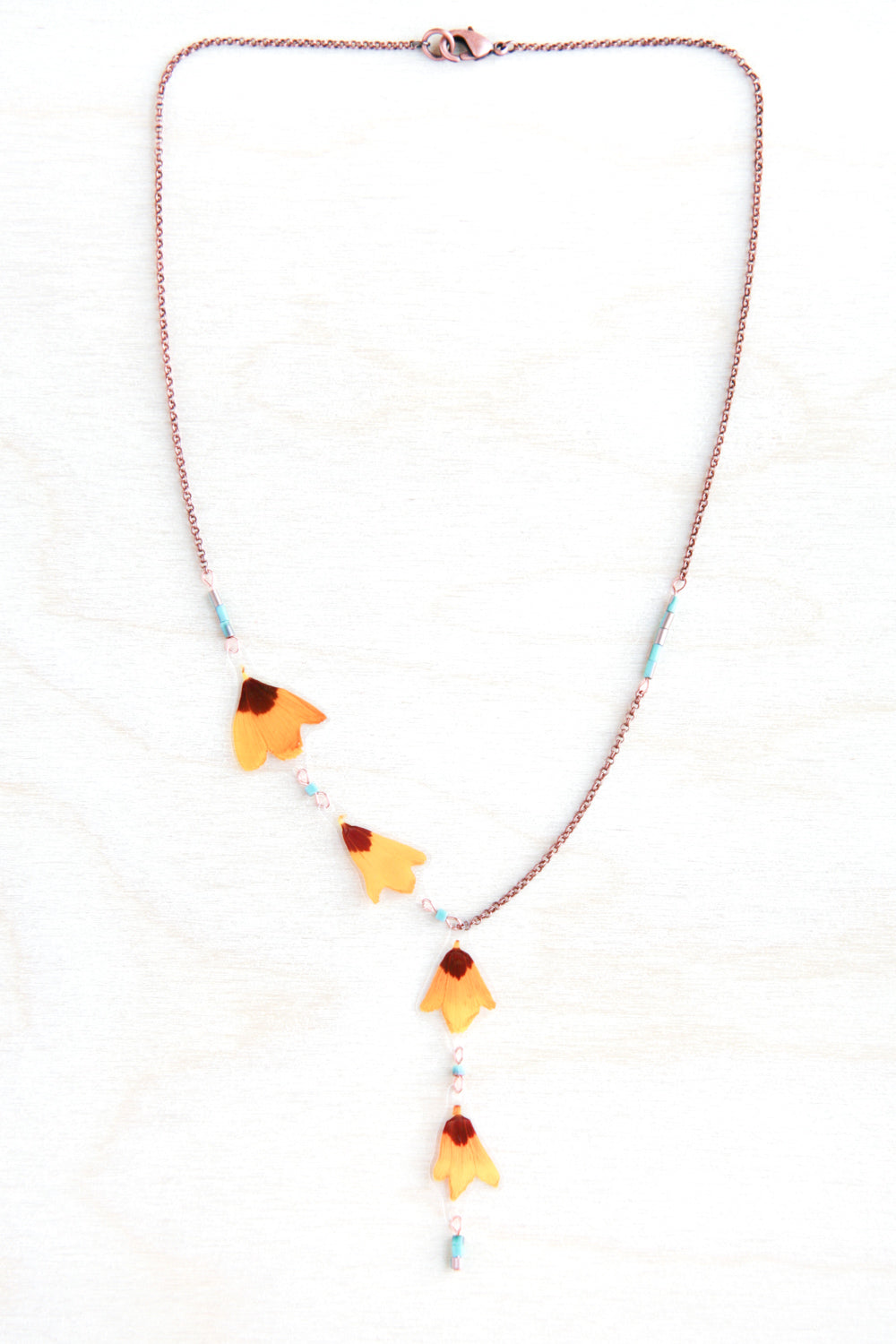 Yellow Coreopsis Pressed Petal Necklace with Turquoise Glass Beads
