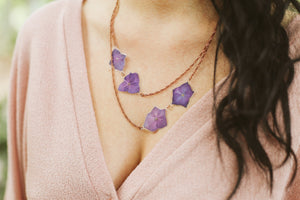 Purple Hydrangea Pressed Flower Necklace