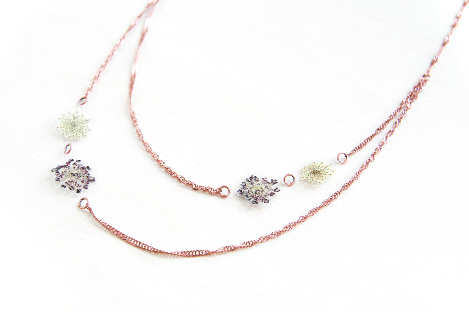 White & Purple Queen Anne's Lace Asymmetrical Necklace