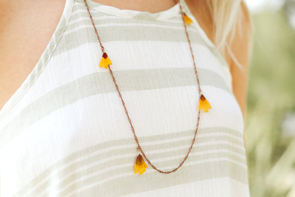 Yellow Coreopsis Pressed Petal Confetti Necklace