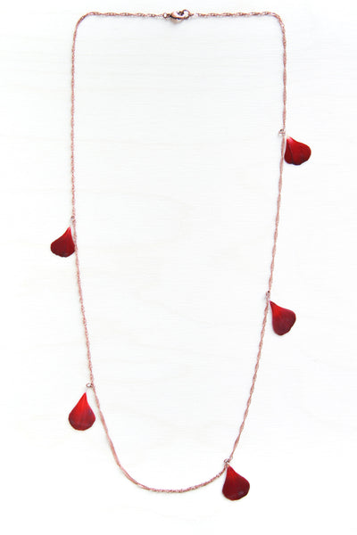 Red Geranium Pressed Petal Confetti Necklace