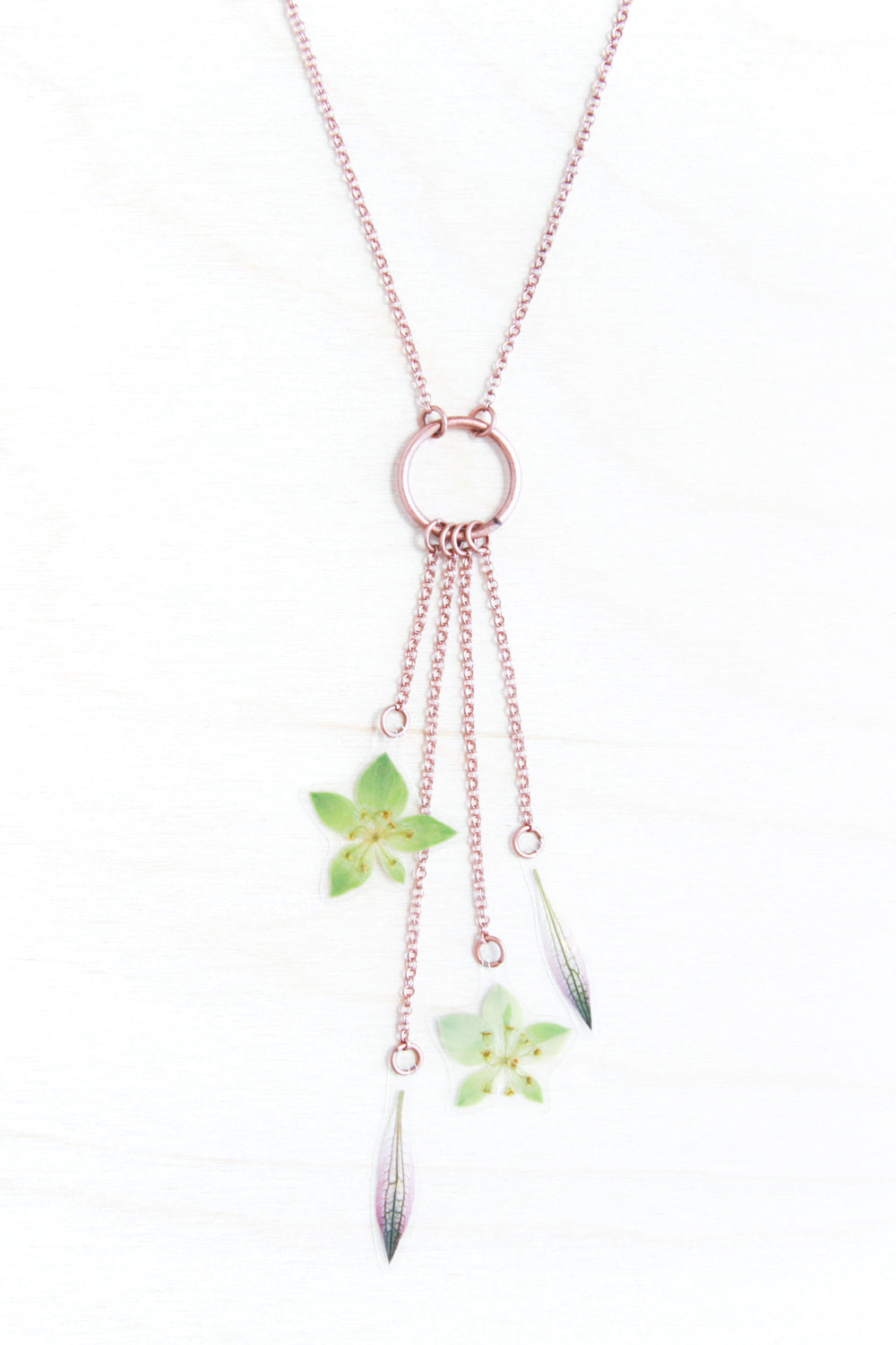 Purple Astrantia & Green Bupleurum Lariat Necklace