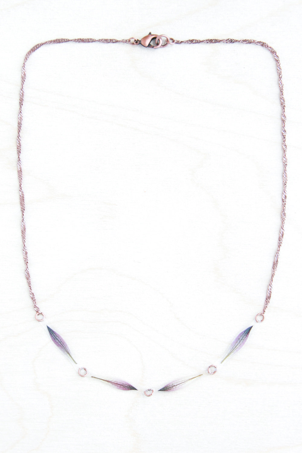 Purple Astrantia Petal Row Necklace