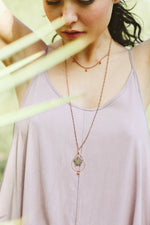 Purple Queen Anne's Lace Pressed Flower Necklace with Copper Teardrop Hoop & Glass Beads