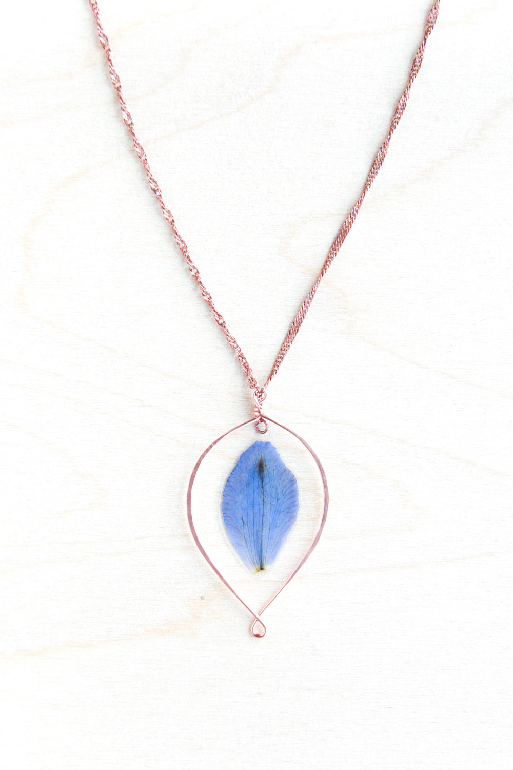 Blue Delphinium Pressed Petal Loop Hoop Necklace