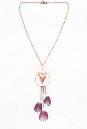Dogwood Pressed Flower Necklace with Cranberry, Amber & Cream Glass Beads (Limited Edition)