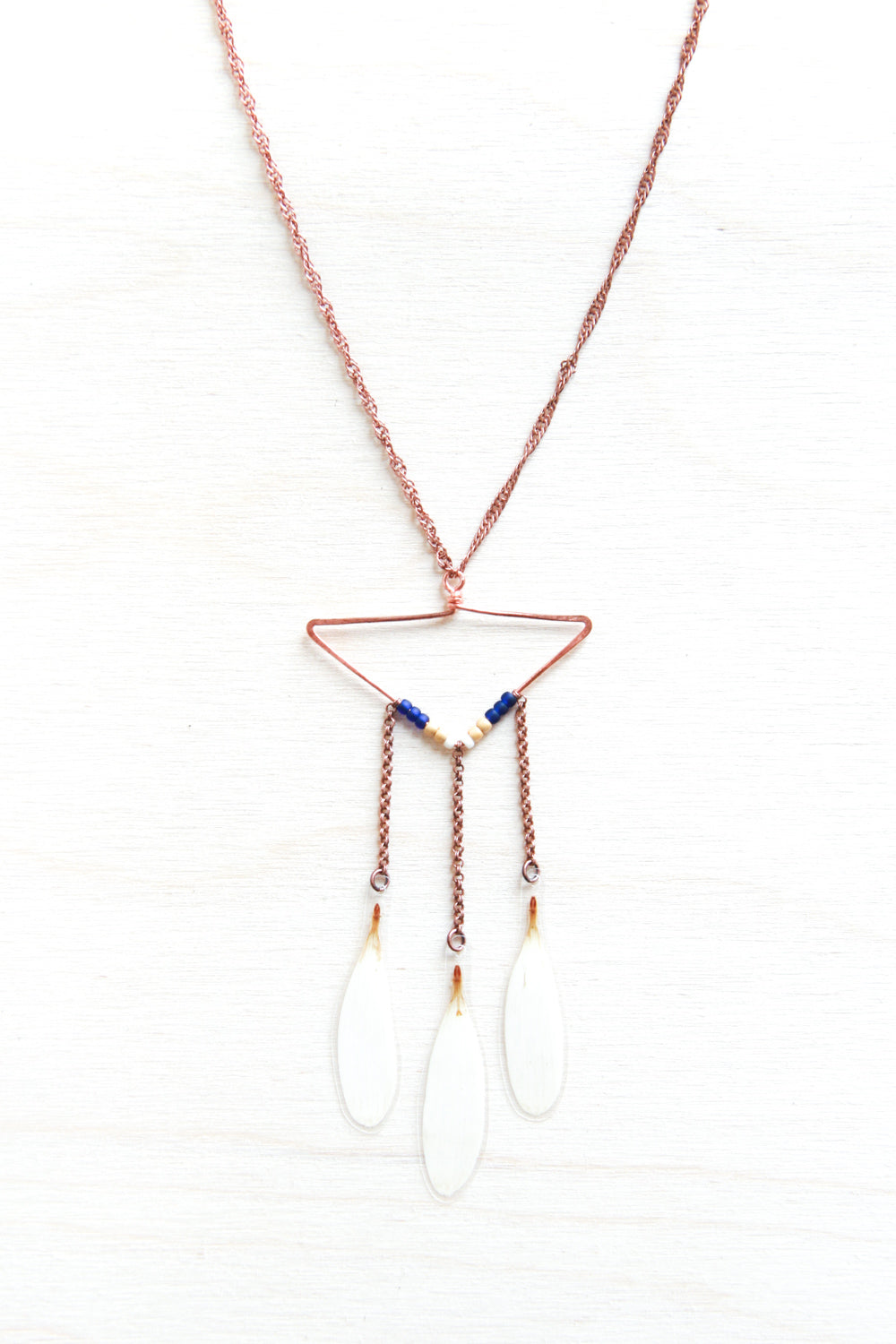 White Shasta Daisy Petal Necklace with Copper Triangle Hoop & Navy Beads