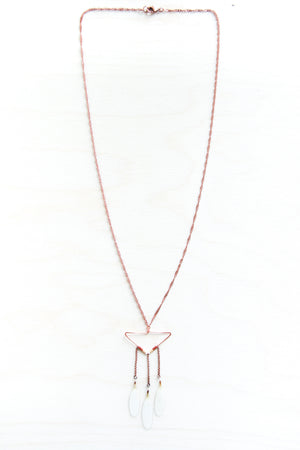 White Shasta Daisy Petal Necklace with Copper Triangle Hoop & Terracotta Beads
