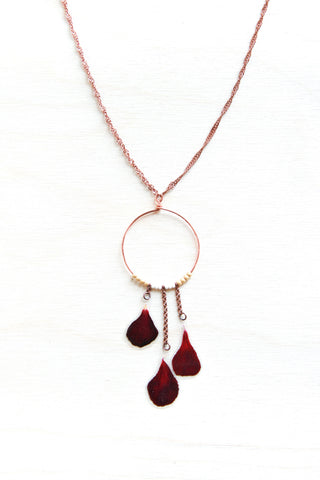 Red Geranium Flower Necklace with Copper Hoop & Gold Beads