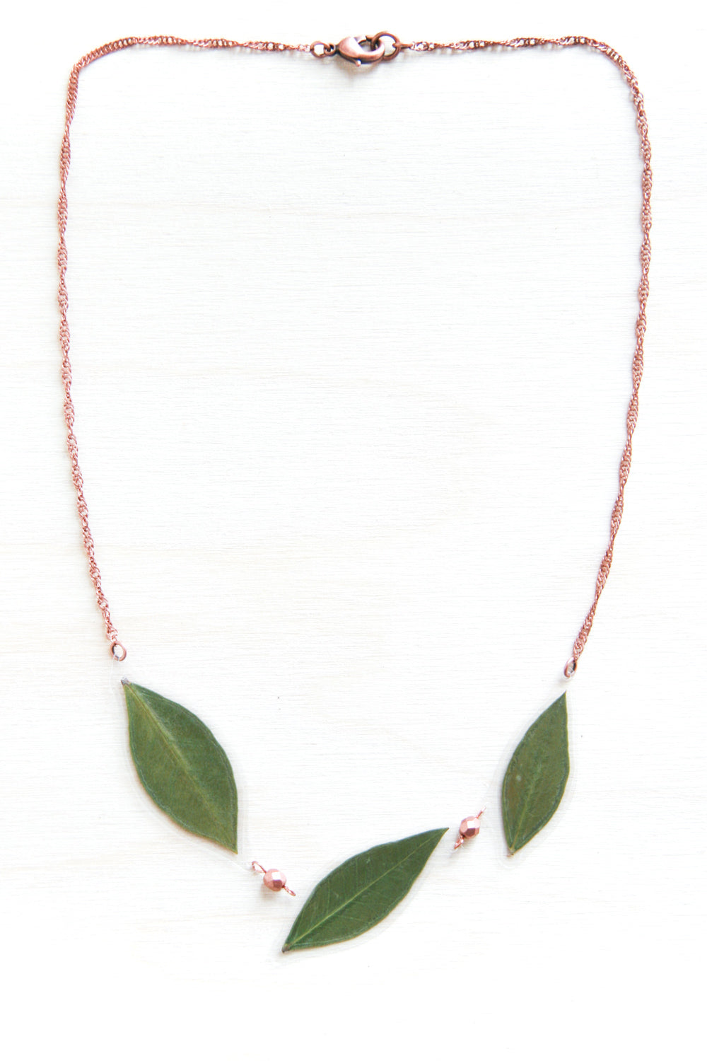 Green Myrtle Leaf & Copper Bead Necklace