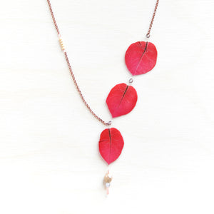 Fuchsia Bougainvillea Petal Asymmetrical Necklace with Metallic Beads