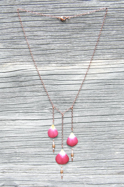 Fuchsia Rose Pressed Petal Necklace with Glass & Copper Beads