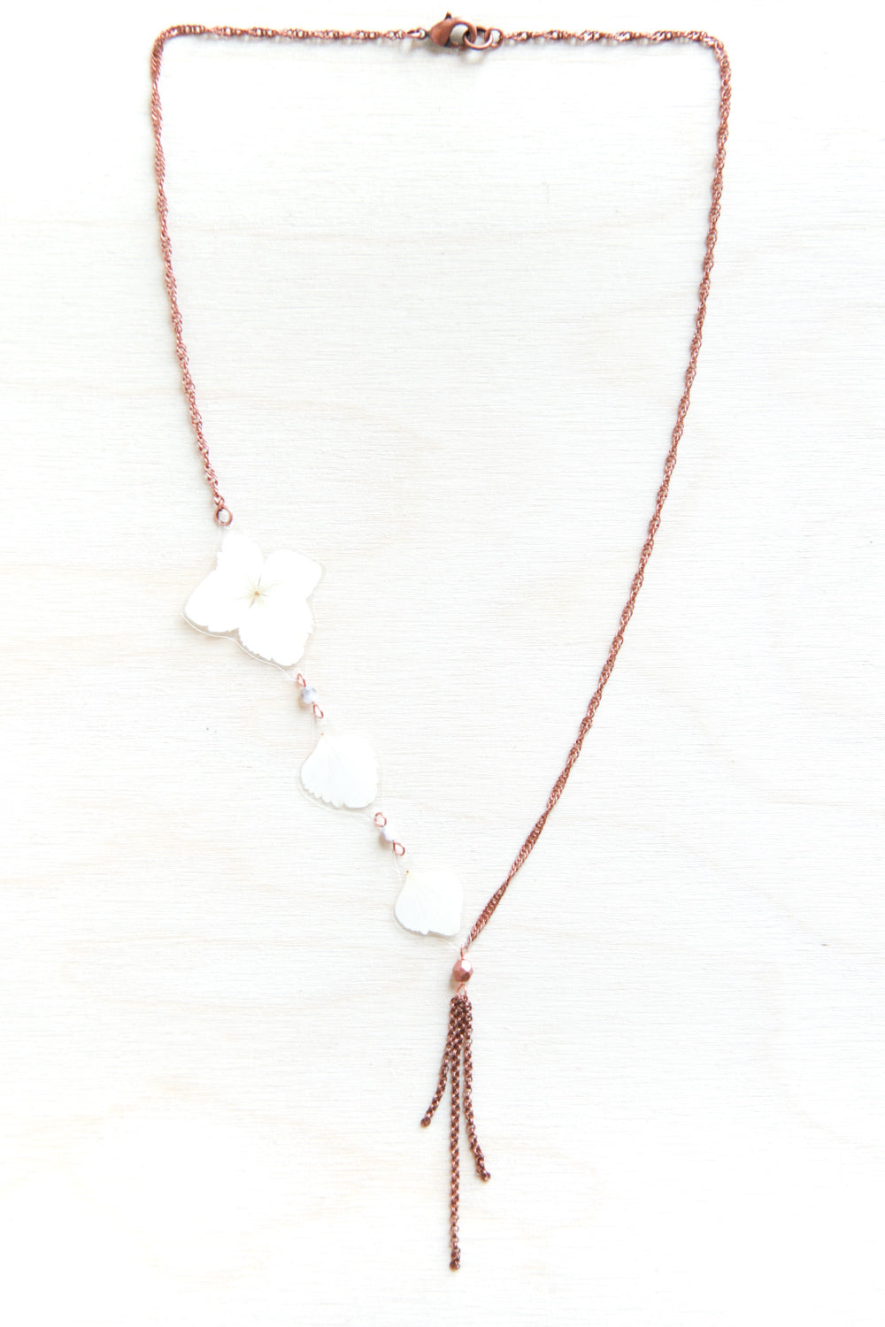 White Hydrangea Flower Necklace with Copper Beads & Dangles