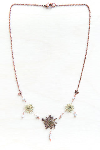 White & Purple Queen Anne's Lace Flower Beaded Necklace