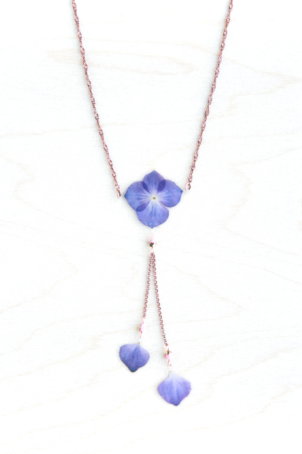 Purple Hydrangea Flower Lariat Necklace with Pink Beads