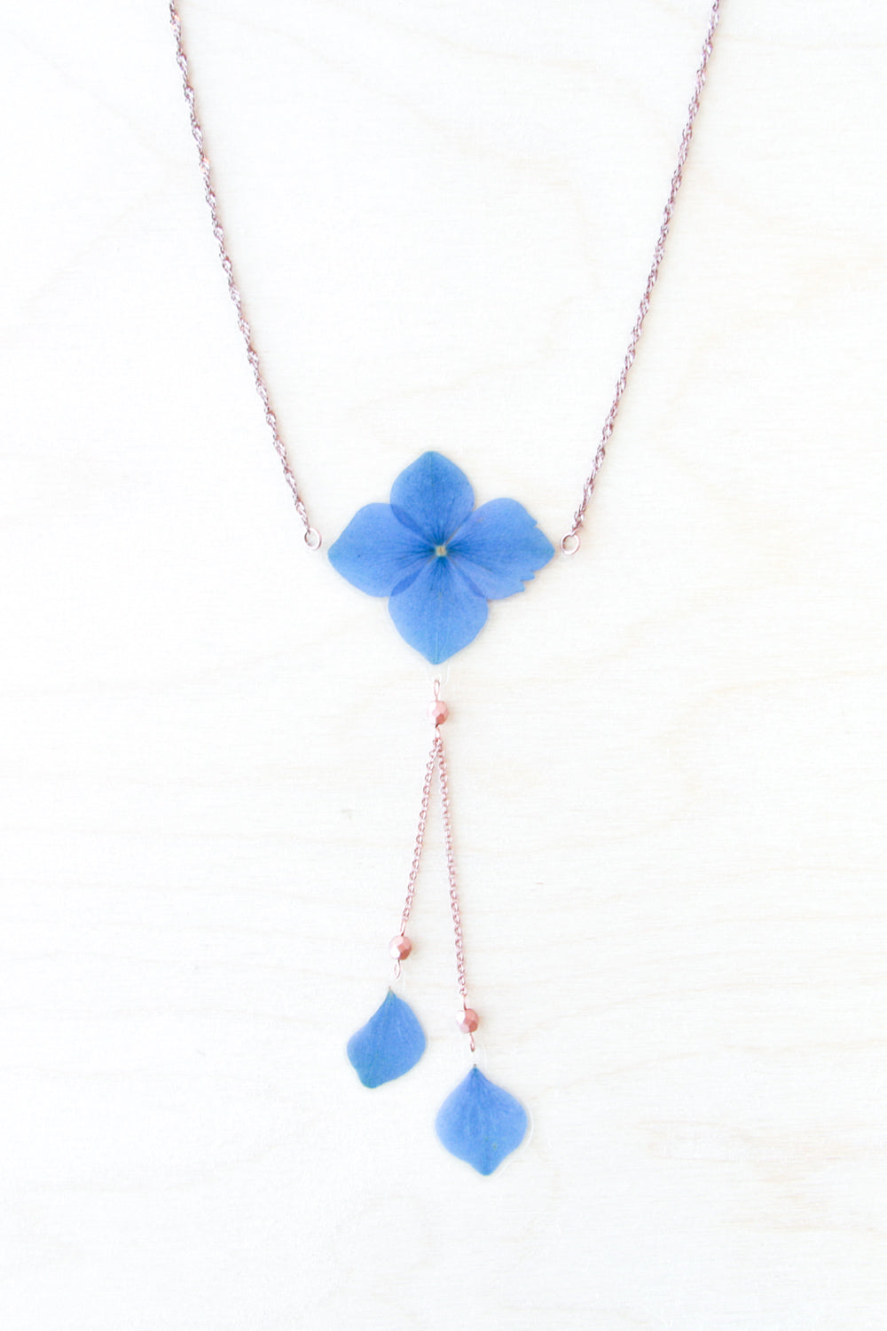 Blue Hydrangea Flower Lariat Necklace with Copper Beads