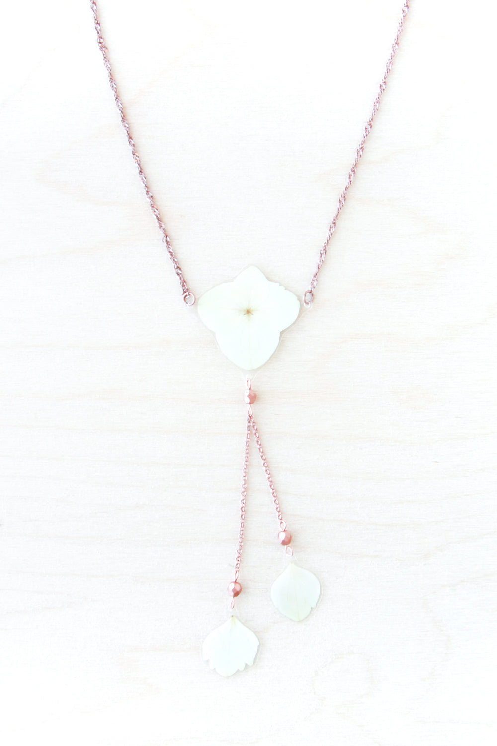 White Hydrangea Flower Lariat Necklace with Copper Beads