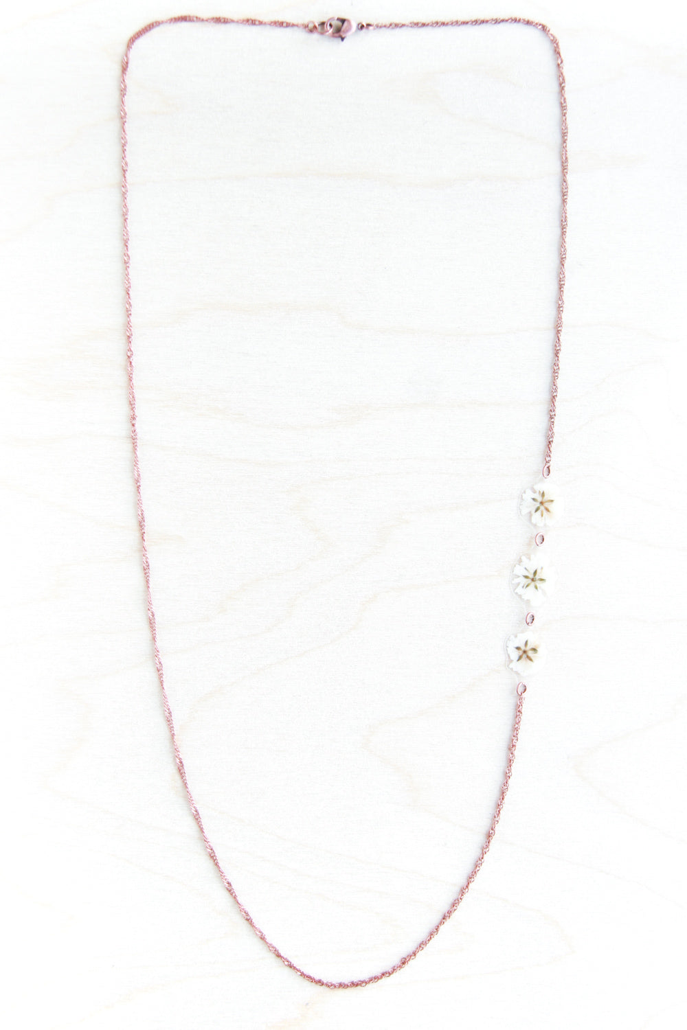 White Baby's Breath Flower Asymmetrical Necklace