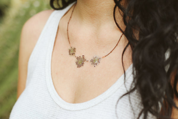 Purple Queen Anne's Lace Pressed Flower Necklace